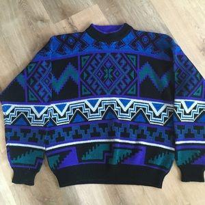 Vtg 80s BOTANY 500 Aztec Geometric Ugly Sweater